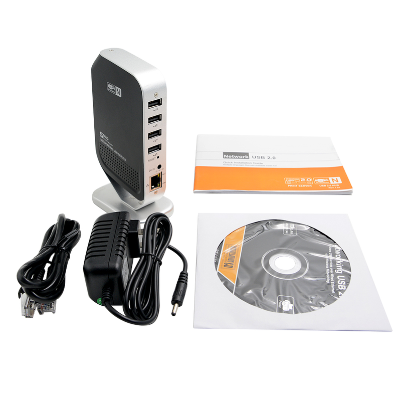 Desxz M4 4 Port Networking USB 2.0 Print Server Printer Share 4 USB HUB Devices 100Mbps Network Over Ethernet Print Server цена
