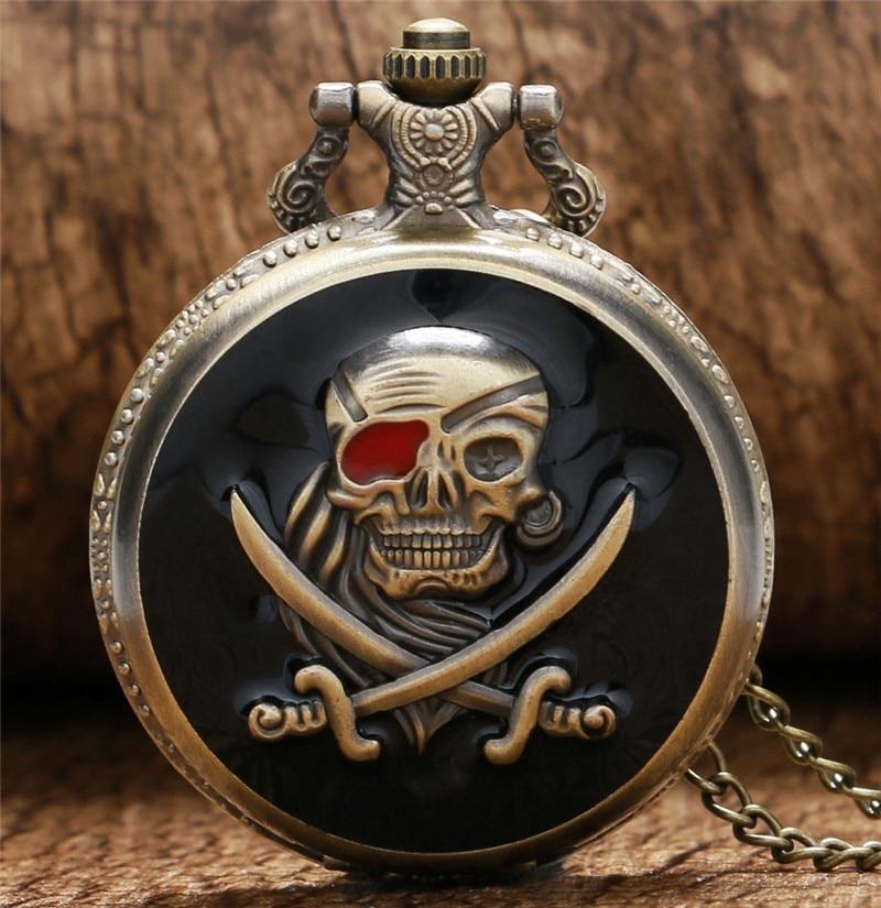 Fashion Charm Black Skull Steampunk Quartz Pocket Watch Clock for Women font b Men b font
