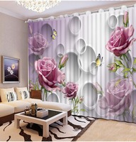 curtains for living room 3d curtains New Custom 3D Beautiful purple rose flower Classic Home Decor