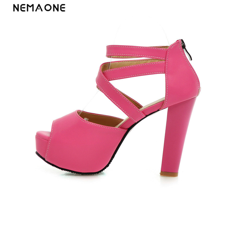 NEMAONE size 34-43 new women sandals platform shoes open toe high quality high heels open toe solid color shoes nemaone new fashion open toe high heels slippers summer women sandals platform flip flops beach shoes large size 43