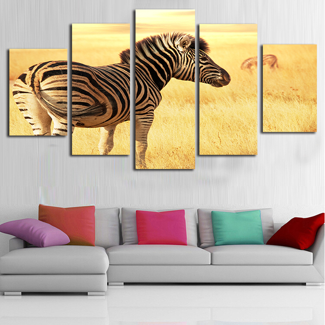 Zebra Canvas Paintings 5 Panel Wall Art Dinging Room Decorative ...