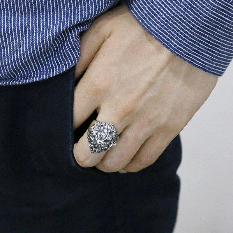 925 argent sterling bijoux de mode hommes personnalité anneaux vintage Thai argent lion tête réglable anneau - 5