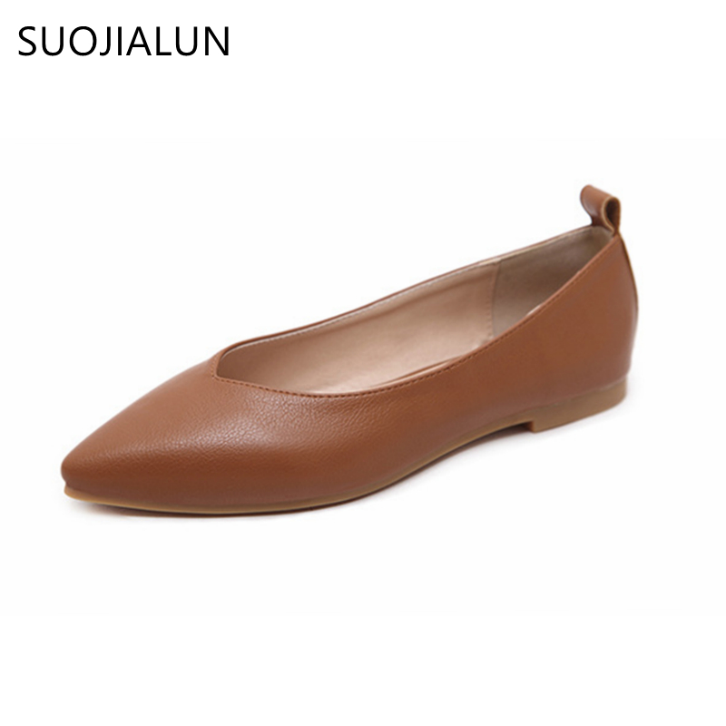 SUOJIALUN 2018 Spring And Autumn Womens Shoes Genuine Leather Flats Female Casual Slip On Flat Plus Size 35-42
