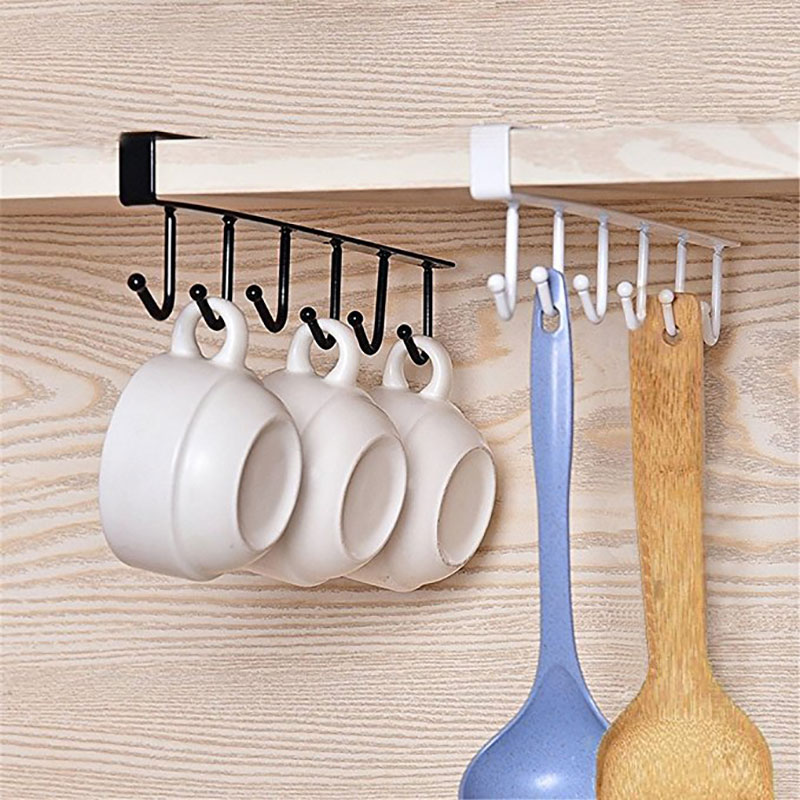Us 5 99 40 Off Kitchen Cupboard Storage Rack Hanging Hooks Cup Cooker Dish Shelf Organizer Holder For Bathroom Kitchen Accessories In Storage
