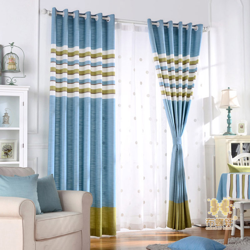 Striped Bedroom Curtains Drapes Blackout For Fabric Linen Window Blinds Living Room Decor New Panel Custom