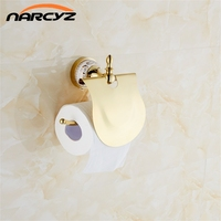 Golden Brass Printing Bathroom Wall Mounted Toilet Paper Holder Tissue Holder W Cover Free Shipping Wholesale