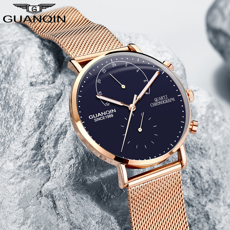 GUANQIN мужские часы люксовый бренд кварцевые натуральная кожа часы светящиеся стрелки часы мужские дизайнерские наручные часы