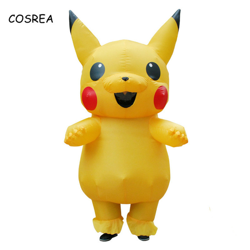 COSREA Yellow Inflatable Pikachu Cosplay pokemon Costume Dinosaur Halloween Christmas Inflatable Costume Party  for Adult Kids