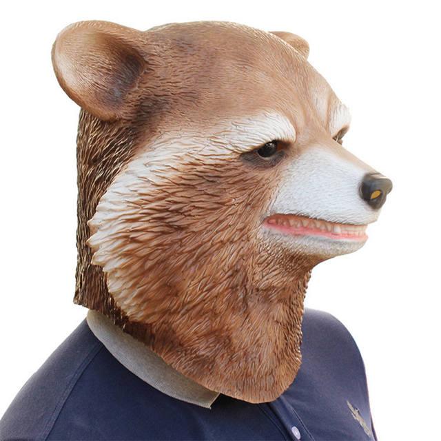Party Raccoon Head Latex Mask