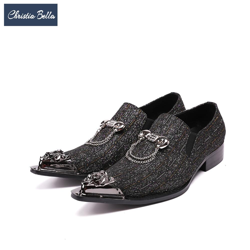 Los Puntiagudo Zapatos Vestido Bella Hombre Gran De Dedo Hombres Del Pie Negro Christia Genuino Italiano Boda Cadenas Cuero Tamaño Lujo Negocios X7gBq