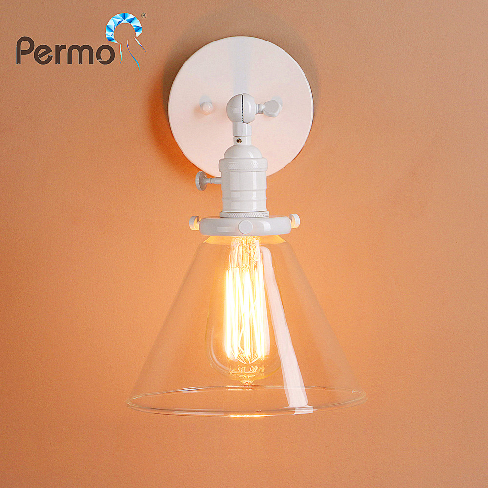 PERMO 7.2''Funnel Glass Vintage Wall Lamp Retro Metal Sconce Wall Light Loft Kitchen Luminaire New Year Christmas Decorations