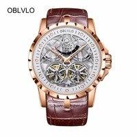 2019 새로운 디자인 oblvlo 브랜드 럭셔리 투명 중공 해골 시계 남자 tourbillon 로즈 골드 자동 시계 obl3609