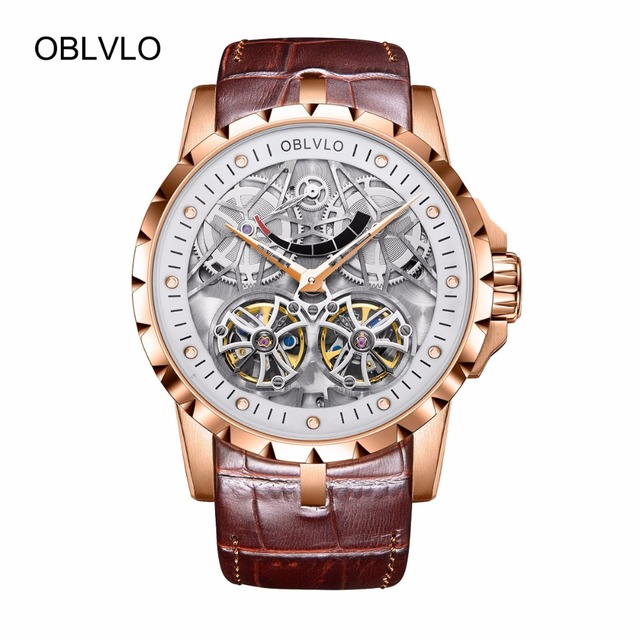 2019 New Design OBLVLO Brand Luxury Transparent Hollow Skeleton Watches for Men Tourbillon Rose Gold Automatic Watches OBL3609