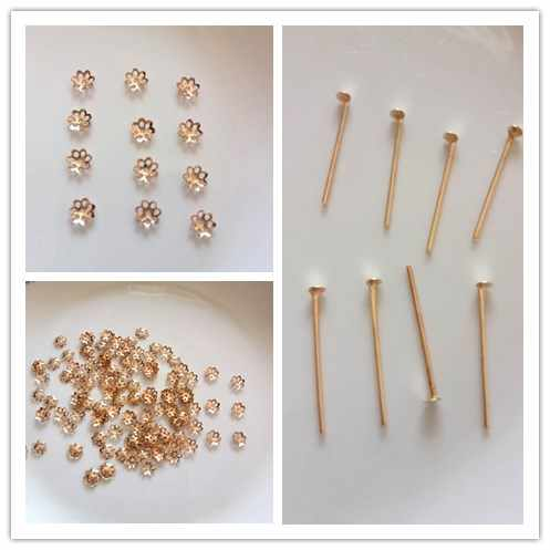Hot 100pcs Flower Hat Isolation Jewelry & T-Shaped Needle Handmade Beaded Material Diy Fashion Jewelry Accessories