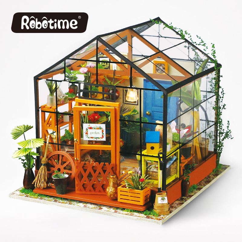 Robotime 3D Wooden Puzzle DIY Handmade Furniture Miniature Dollhouse Building Model Home Decoration green house DG104 cubicfun 3d puzzle diy paper model building p615 dollhouse garden villa puzzle 3d handmade lovely toys for kids christmas gifts