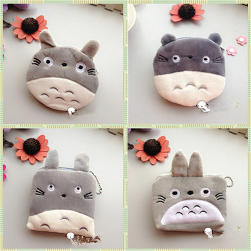 Retail plush cartoon totoro purse small wallet card holder coin case/ key bag ladies Pouch women kids Handbag free shipping japan south korea cartoon owl mini wallet coin case card holder dollar price bag quartet small purse gift wholesale