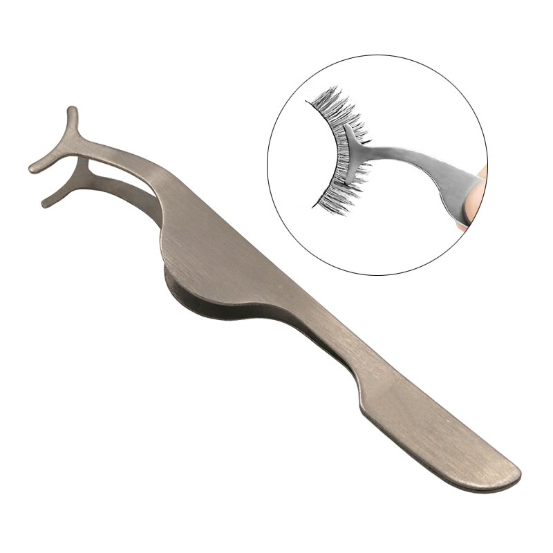 1 PC Eyelash Tweezers Beauty Makeup Tools Multifunction Stainless Auxiliary False Eyelash Curler Clip Make Up Accessories Tools