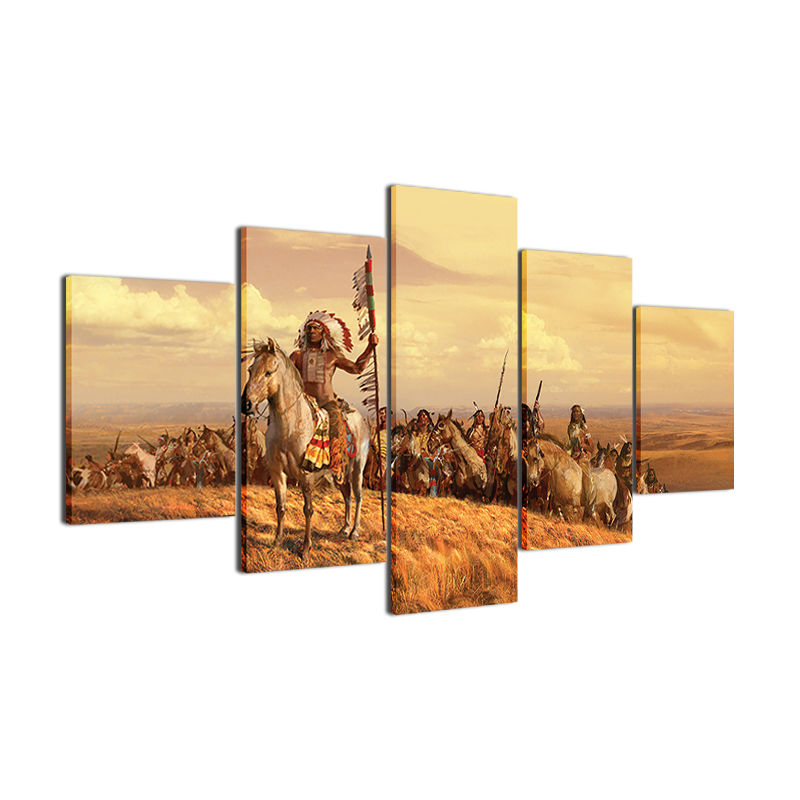 5 Panel American Native Tribes Indian Wall Art Picture Home ...