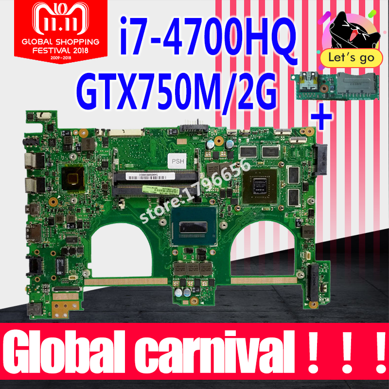 Send board+with i7-4700HQ GT750M 2GB N550JV Motherbord For ASUS G550JK N550JK N550JV G550JV G550J N550J N550JX laptop Mainboard