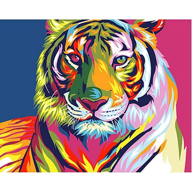 Rahmenlose bunte tiger tiere diy malerei by zahlen dekoration moderne wandkunst leinwand acryl bild geschenk für kind