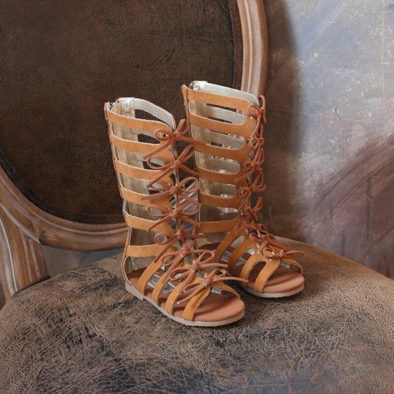 Cuero de gamuza niñas sandalias de cuero Real los niños romanos sandalias arco botas de Mujer Sandalias de gladiador para niños