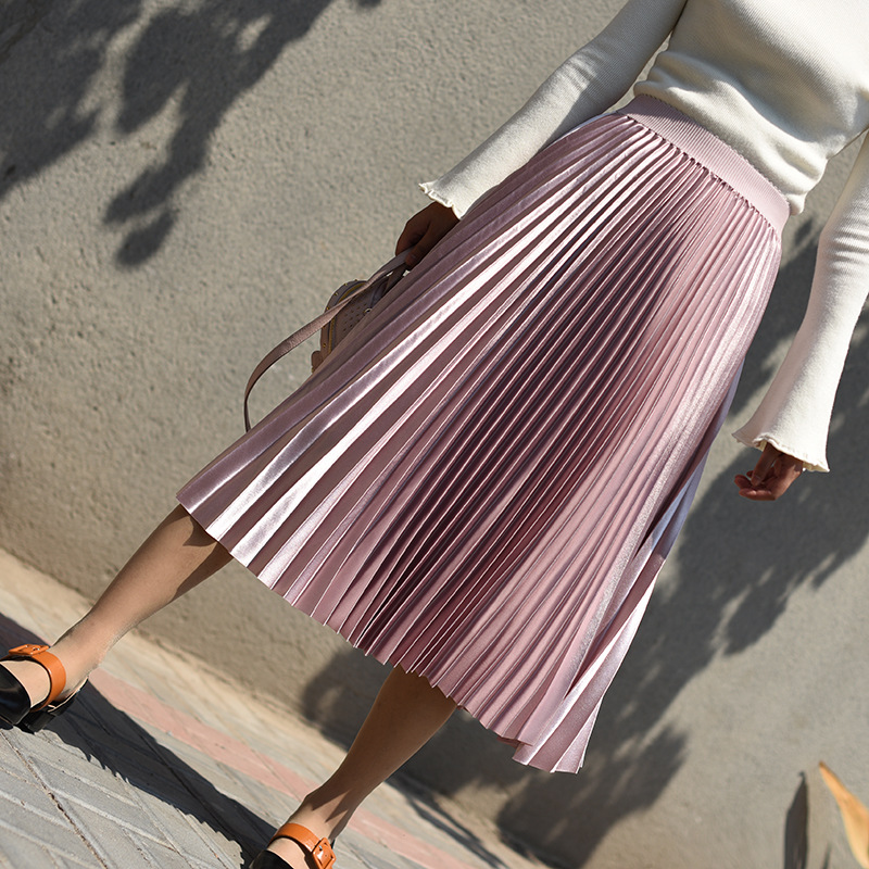2018 Autumn Winter Skirt Women Metal Color Pleated Tutu Skirt Vintage Elastic Hight Waist Skirts Female Long Skirts Faldas Saia