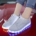 2017 Nueva Moda 8 Colores de la Alta Calidad Led Luminoso de Carga USB zapatos luces Led Zapatos Mujeres y Hombres Zapatos Casuales Tamaño 35-44