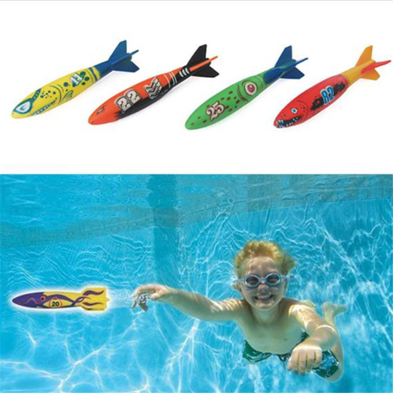4 Pcs/Pack Torpedo Rocket Throwing Toy Swimming Pool Diving Game Summer Torpedoes Bandits Children Underwater Dive Sticks Toy цена и фото