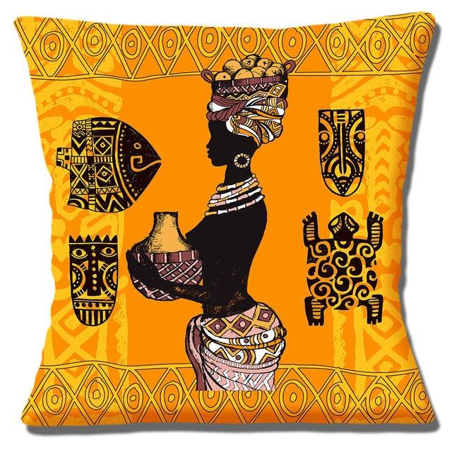 Orange tribal africain dame housse de coussin ethnique - Housse de coussin ethnique ...