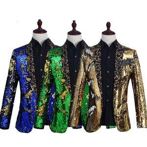 Image 2 - Nowe męskie ubrania płaszcz na co dzień Hip hop Blazer mężczyźni Slim dopasowana sukienka biegaczy Blazers garnitury Streetwear kostiumy sceniczne dla piosenkarki męskie