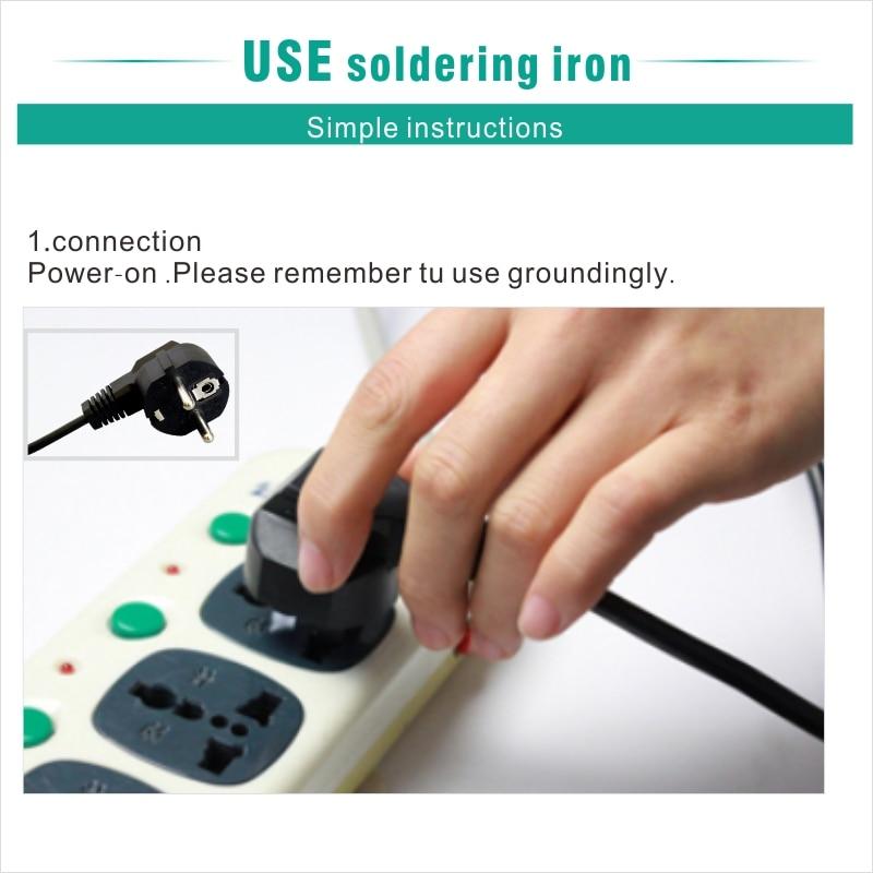 Electric Soldering iron 60W CXG LCD Adjustable Temperature EU plug Welding Solder Station Heat Pencil 2pcs Tips  (15)