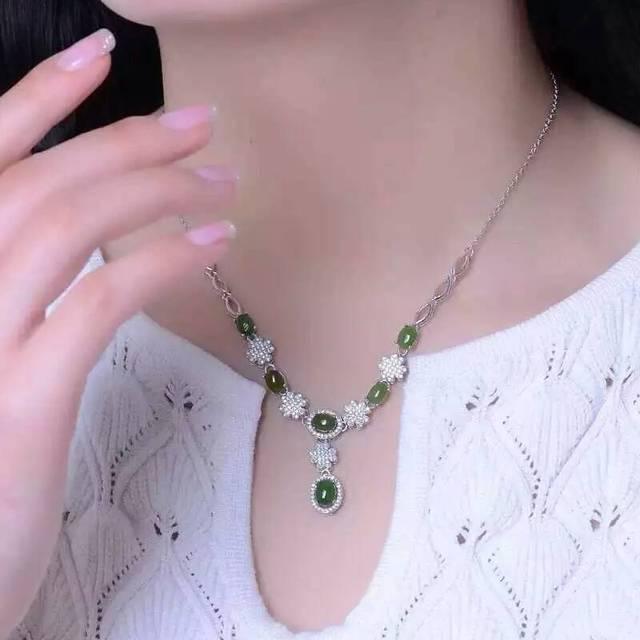 Fidelity natural jasper pendants necklaces s925 sterling silver fidelity natural jasper pendants necklaces s925 sterling silver natural green gemstone necklaces elegant fine jewelry for aloadofball Images
