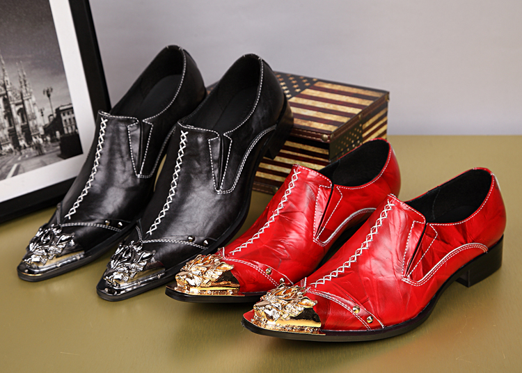 22ce898150a Plus Size 38 46 Red Wedding Shoes for Men Fashion Gold Dragon Embroidery  Genuine Leather Dress Shoes Men Carving Bullock Shoes-in Oxfords from Shoes  on ...
