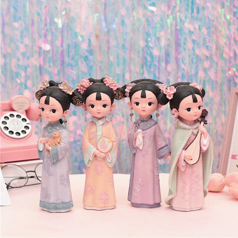 Strongwell Gege Ornaments Decorative Retro Auspicious Girls Court Style Costumes Crafts Resin Birthday Gift in Figurines Miniatures from Home Garden