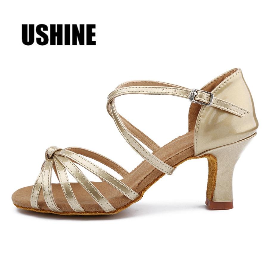 Heel 7cm / 5cm s čvorom PU latino plesne cipele žena Zapatos De Baile Latino Mujer WZJ Besplatna dostava