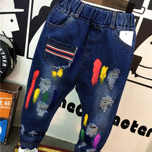 Paint graffiti hole jeans baby jeans boys pants casual pants spring autumn kids trousers navy blue fashion baby clothing (B1123