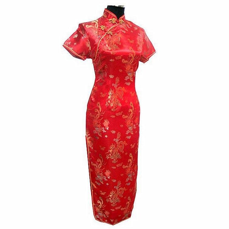Crna Ženska Satin Long Cheongsam Qipao Tradicionalna kineska haljina - Nacionalna odjeća - Foto 2
