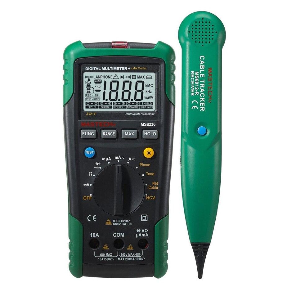 MASTECH MS8236 Multimetro Digitale Netwoek Cavo Tester di Cavo di Rete Tracker Toni Telefono Controllo linea di Non-contatto Volt