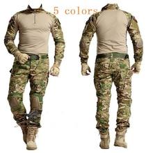 Tactical Hunting Clothes Military Bdu Uniform Clothing Army Tactical Shirt Jacket Pants With Knee Pads Camouflage Kryptek Black kryptek mandrake bdu g3 uniform shirt