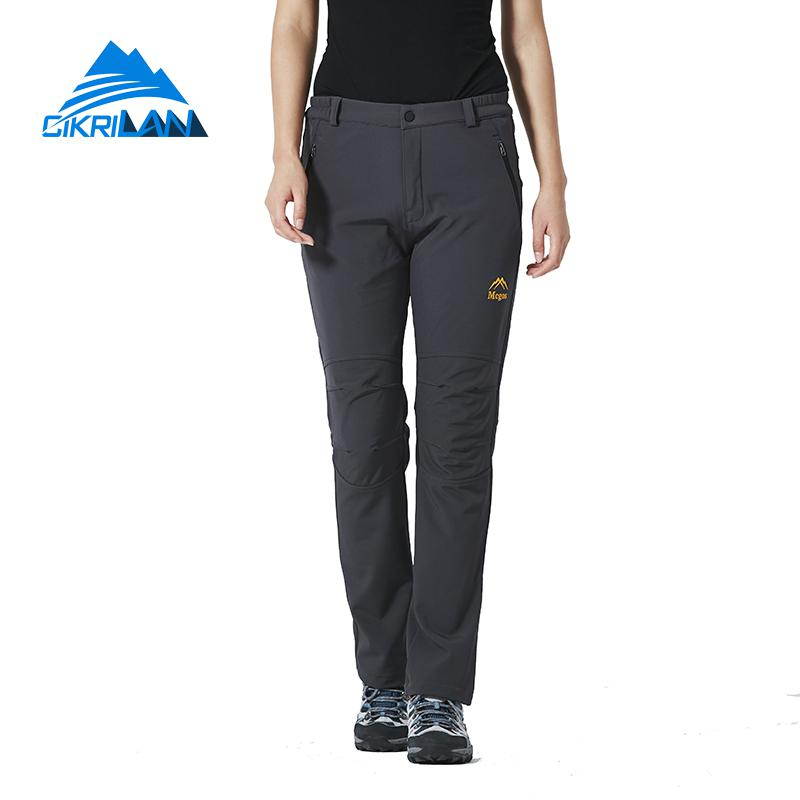 2019 Winter Windstopper Softshell Outdoor Climbing Hiking Pants Women Camping Trekking Cargo Trousers Sport Pantalon Senderismo