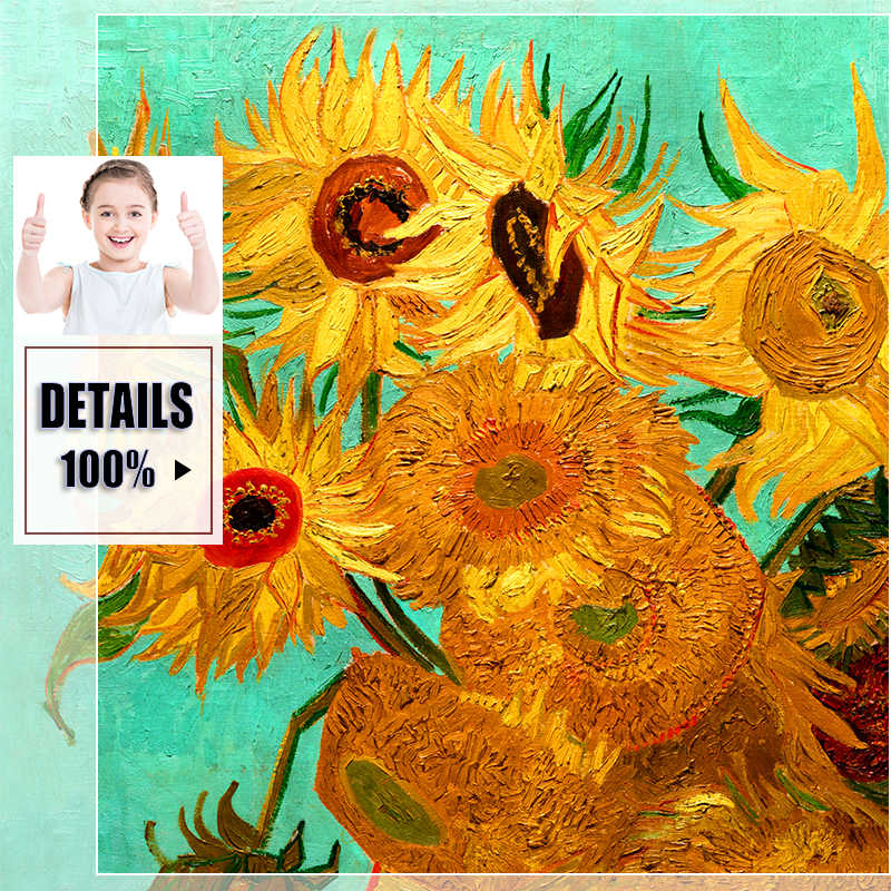 Van Gogh Oil Painting Canvas Art Print Poster Sunflower Apricot Canvas Painting Abstract Poster Picture Art Wall Home Decoration