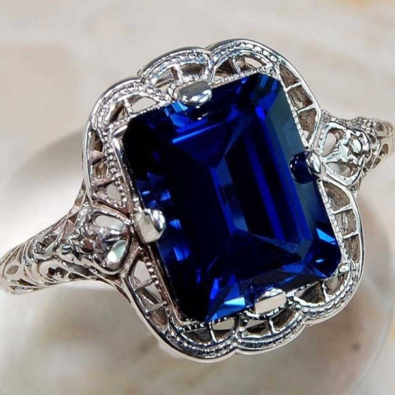 Princess Dark Blue Stone Rings for Women Gift Hollow Out Silver Ring Luxury Jewelry Large Ring Bague Femme Anillos Mujer Z3H558