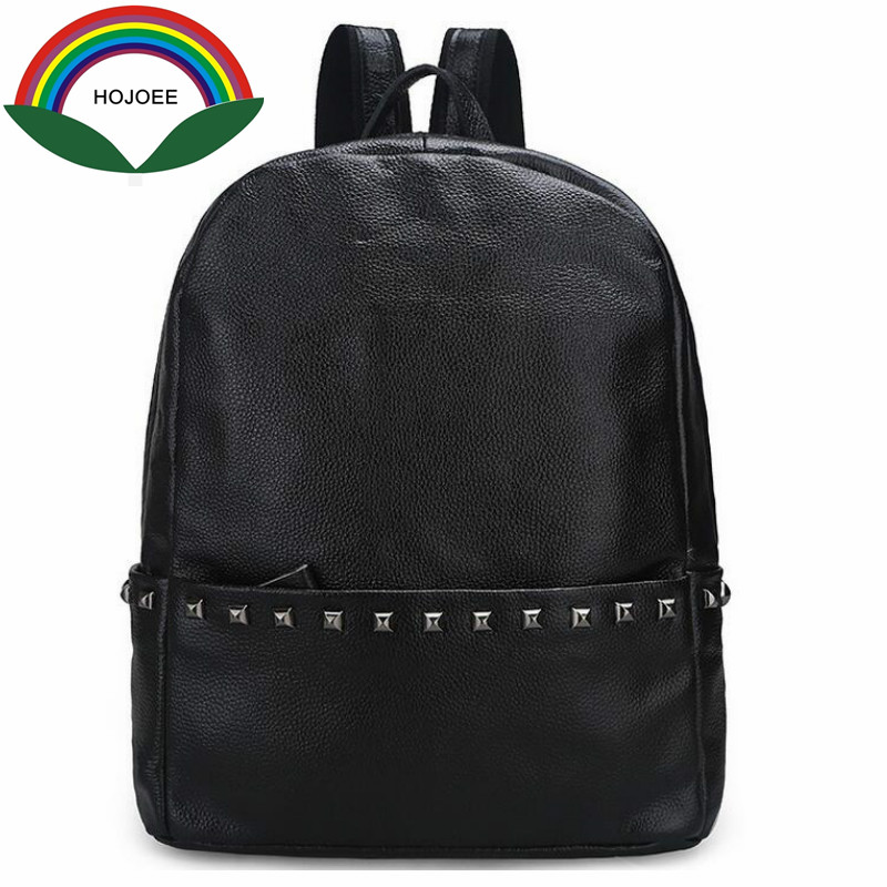Genuine Leather Women Backpack Rivet Fashion Schoolbag for Teenage Large High Quality New Fashion School Bags
