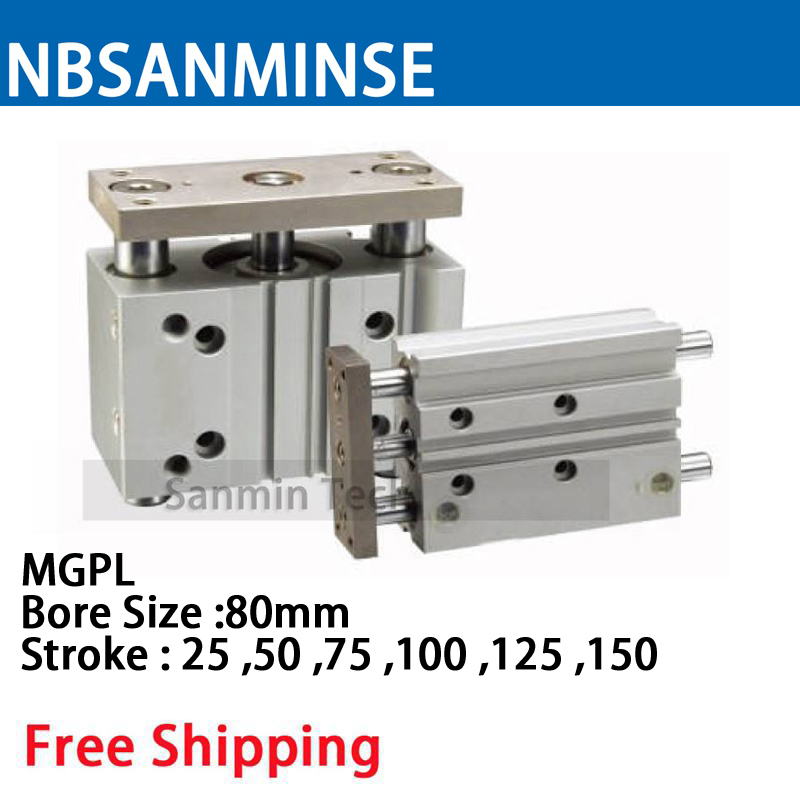 NBSANMINSE MGPL Bore 80 ISO Compact Cylinder Guide Rod Pneumatic Air Cylinder Double Acting цена