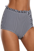 Stripe Swimwear thong summer lady bathing shorts swimsuit beachwear scrunch bikini bottoms maillot de bain femme