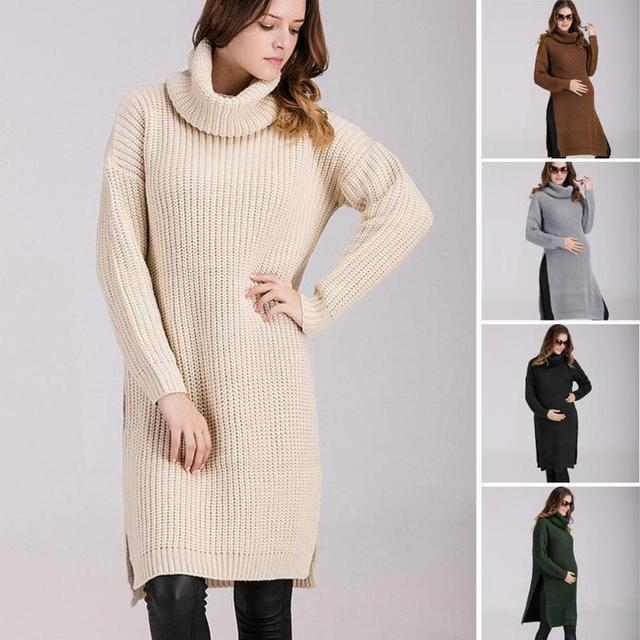 2017 Pregnant women autumn winter long loose knitting sweater dress turtleneck split maternity pullovers knitted dress 45
