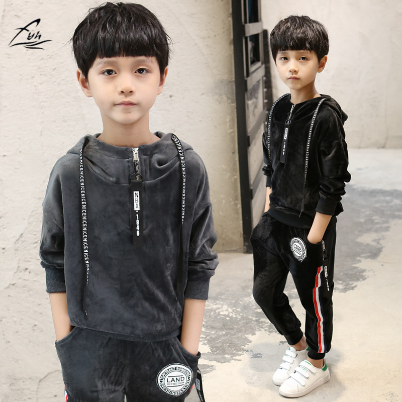 FYH Kids Clothes Boys Spring Autumn Pleuche Sports Suit Boys Girls Set School Children Clothing Set 2pcs Sweatshirt+Pants Causal