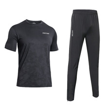 Men Running Set Sport Clothes T-shirt and Pants Sports Suits Tracksuit Gym Fitness Patchwork Hooded JoggingSportwear male t shirt puma 57499701 sports and entertainment for men sport clothes tmallfs