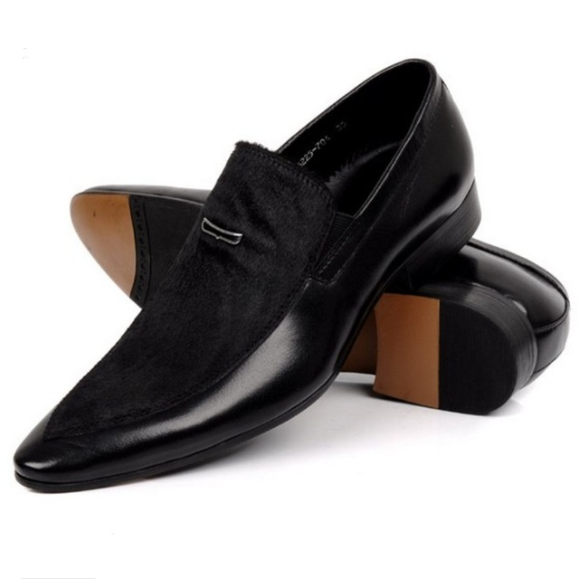Large size EUR45 Black mens suede dress shoes genuine leather pointed toe business dress shoes mens wedding shoes Formal Shoes