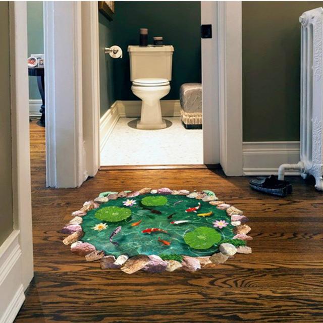 New Arrival 3D Golden Fish Pool Floor Wall Stickers Decoration DIY Cartoon  Kids Living Room Floor